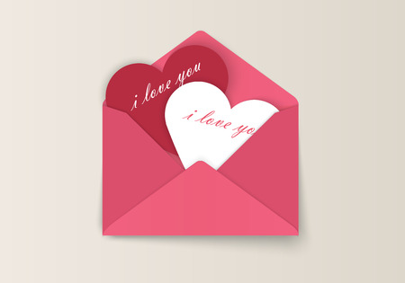 Love letter Valentines Day envelopes with paper and an inscription I love you isolated on white background. Vector illustration.