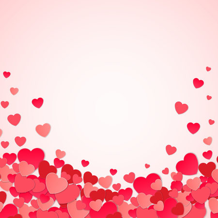 Happy Valentines day abstract background with cut paper hearts. Vector illustration EPS10