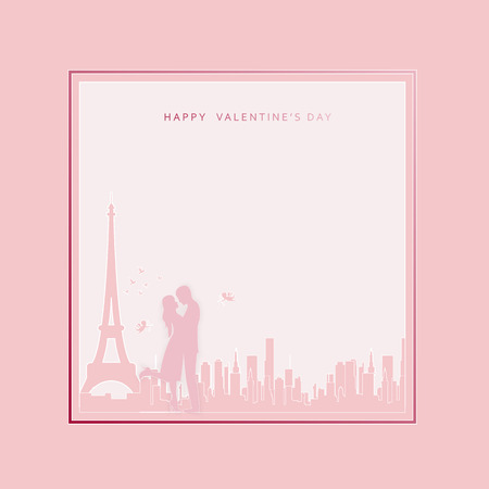 Happy Valentine's day abstract background. Set background for covers, invitations, posters, banners, flyers, placards. Happy Valentine's day composition in paper cut style. Vector illustration.