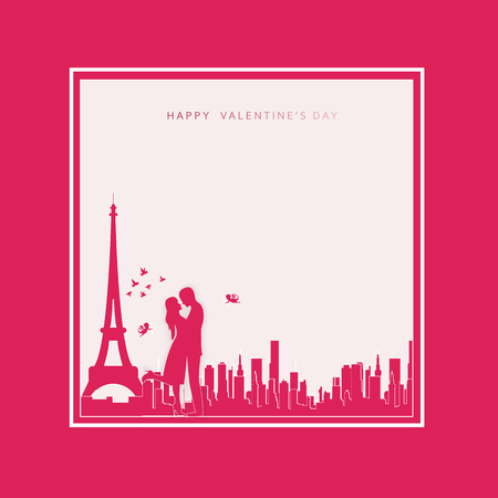 Happy Valentines day abstract background. Set background for covers, invitations, posters, banners, flyers, placards. Happy Valentines day composition in paper cut style. Vector illustration.