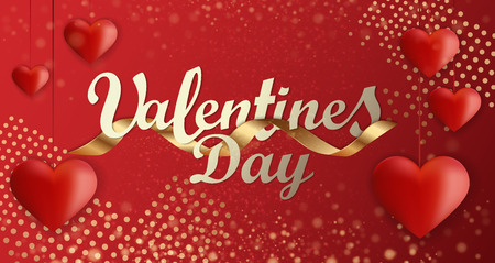 Valentines day background greeting card design template. Party poster, banner or invitation gold glittering stars confetti glitter decoration. Vector background with golden gift bow Иллюстрация