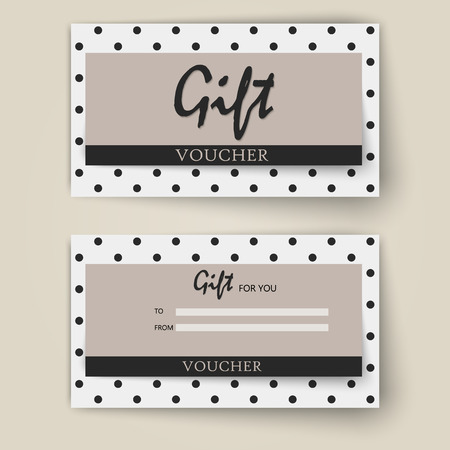 Vector set of luxury gift vouchers with ribbons and bow. Elegant template for a festive gift card, coupon and certificate. Discount Coupon Template. Vector Illustration EPS10 Фото со стока - 126099282