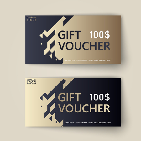 Vector set of luxury gift vouchers with ribbons and bow. Elegant template for a festive gift card, coupon and certificate. Discount Coupon Template. Vector Illustration EPS10 Фото со стока - 126049749