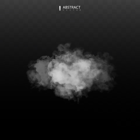 Fog or smoke isolated transparent special effect. Happy Halloween. Halloween composition. White vector cloudiness, mist or smog background. Vector illustration Фото со стока - 126011206