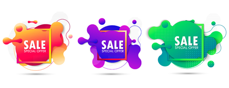 Set Super Sale and special offer. Futuristic trendy dynamic elements. Fluid gradient elements for minimal banner. Abstract background. EPS10
