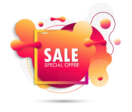 Super Sale and special offer. Futuristic trendy dynamic elements. Fluid gradient elements for minimal banner. Abstract background. EPS10 Иллюстрация