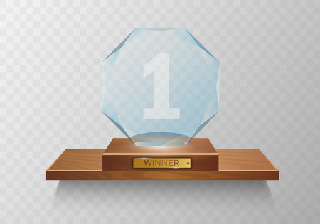 Glass Trophy Award. Winner. Vector illustration isolated EPS10 Фото со стока - 125301869