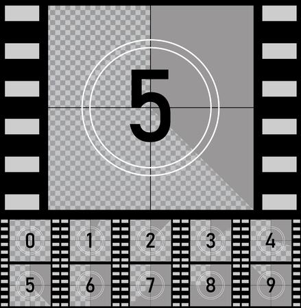 Set Retro-Film-Film. Countdown Frames Timer Universalzähler mit Zahlen. Vektor-EPS10