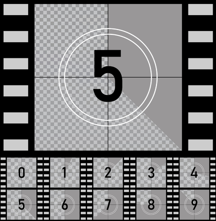 Set retro film movie. Countdown frames timer universal counter with numbers. Vector EPS10 Illustration
