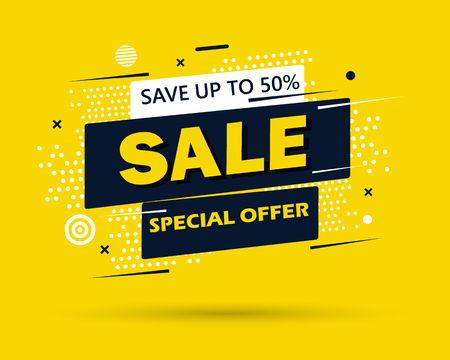 Super Sale and special offer. 50 off. Vector illustration. Trendy neon geometric figures wallpaper in a modern material design style. Coloured banner Фото со стока - 124971801