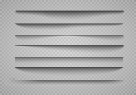 Vector shadows isolated. Page divider with transparent shadows isolated. Set of shadow effects. Transparent shadow realistic illustration Stock Illustratie