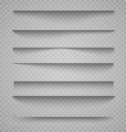Vector shadows isolated. Page divider with transparent shadows isolated. Set of shadow effects. Transparent shadow realistic illustration Иллюстрация