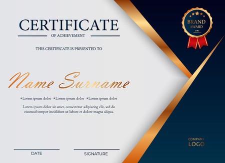 Certificate of appreciation, award diploma design template. Certificate template in golden colors with golden medal. Vector illustration EPS 10 일러스트