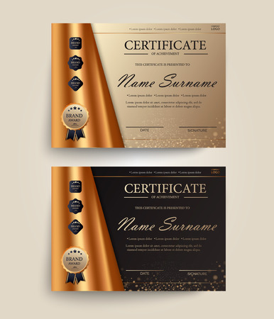 Certificate of appreciation, award diploma design template. Certificate template in golden colors with golden medal. Vector illustration EPS 10 Иллюстрация