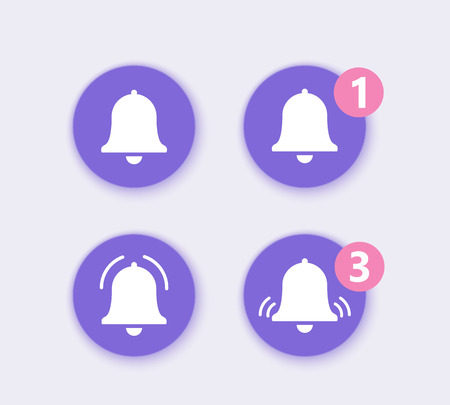 Set icon for incoming inbox message. Notification Vector Icon of bell. Vector sign for alarm clock and smartphone application alert. EPS10 Иллюстрация