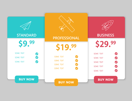 Creative business plans web comparison pricing table. Design modern banner list. Abstract concept graphic websites, applications element. Vector EPS10 illustration. Colorful 3d chart.