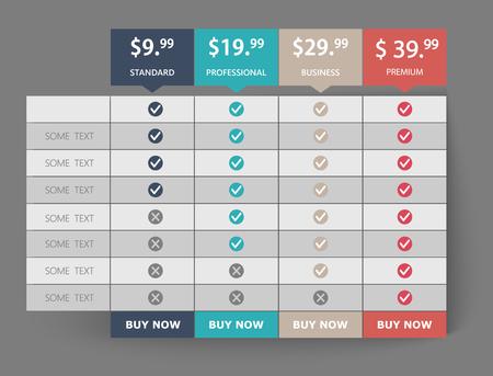 Tabla de precios de comparación web de planes de negocios creativos. Diseño de lista de banner moderno. Sitios web gráficos de concepto abstracto, elemento de aplicaciones. Ilustración de vector Eps10. Gráfico 3d colorido.