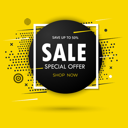 Super Sale and special offer. 50 off. Vector illustration. Trendy neon geometric figures wallpaper in a modern material design style. Coloured banner Фото со стока - 122690906