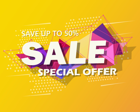 Super Sale and special offer. 50 off. Vector illustration. Trendy neon geometric figures wallpaper in a modern material design style. Coloured banner Фото со стока - 124256397