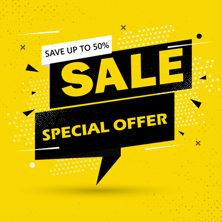 Super Sale and special offer. 50 off. Vector illustration. Trendy neon geometric figures wallpaper in a modern material design style. Coloured banner Фото со стока - 122690909