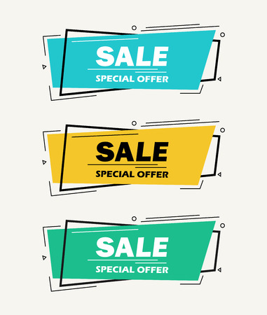 Super Sale and special offer. 50 off. Vector illustration. Trendy neon geometric figures wallpaper in a modern material design style. Coloured banner Фото со стока - 122690926