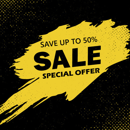 Super Sale and special offer. 50 off. Vector illustration. Trendy neon geometric figures wallpaper in a modern material design style. Coloured banner Фото со стока - 124122975