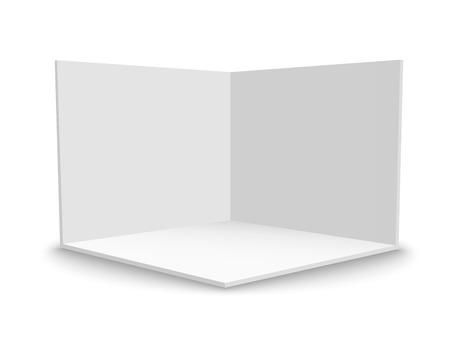 3D-Messestand. Quadratische Ecke. Vektor weißes leeres geometrisches Quadrat. Vorlage für eine leere Box Vektorgrafik