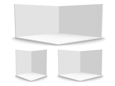 3D exhibition booth. Square corner. Vector white empty geometric square. Blank box template