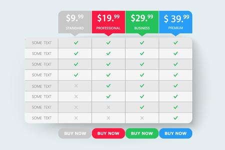 Preistabelle für Webvergleiche für kreative Geschäftspläne. Entwerfen Sie moderne Bannerliste. Grafische Websites des abstrakten Konzepts, Anwendungselement. Vektor EPS10 Abbildung. Buntes 3D-Diagramm.