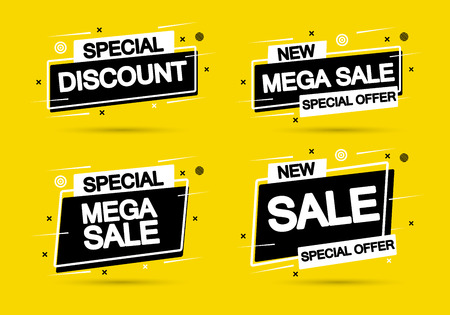 Set Super Sale and special offer. Vector illustration. Trendy neon geometric figures wallpaper in a modern material design style. Coloured banner Иллюстрация