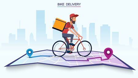 Delivery, the guy on the bike carries the parcel. Urban landscape. courier driving bike fast food food. Flat design vector illustration. Иллюстрация