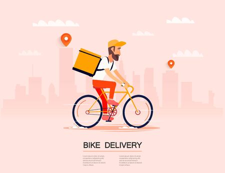 Delivery, the guy on the bike carries the parcel. Urban landscape. courier driving bike fast food food. Flat design vector illustration. Фото со стока - 127482683