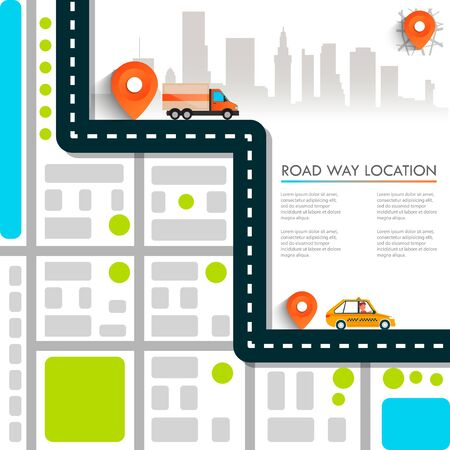 Street Map with navigation icons. Navigation concept. Vector illustration road way location. Фото со стока - 127482684