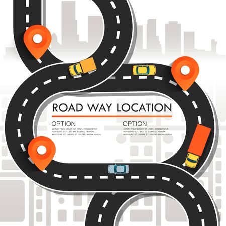 Street Map with navigation icons. Navigation concept. Vector illustration road way location. Фото со стока - 127482685