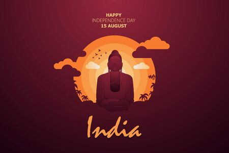 Happy Independence Day of India for 15th August. Famous monument of India in Indian background. Vector illustration EPS10 Фото со стока - 126975847