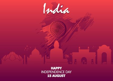 Happy Independence Day of India for 15th August. Famous monument of India in Indian background.
