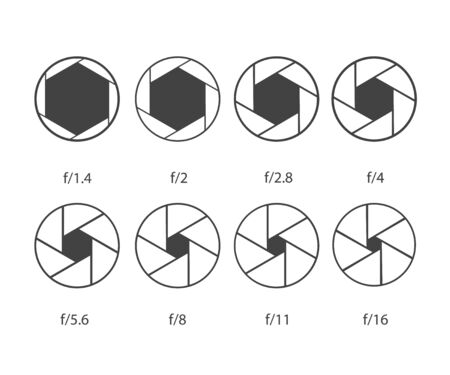 Set of camera shutter icons on white background. Иллюстрация