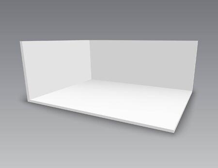 3D-Messestand. Quadratische Ecke. Vektor weißes leeres geometrisches Quadrat. Vorlage für eine leere Box