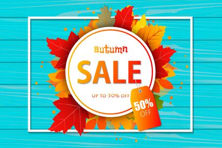 Autumn sale vector design. Templates for placards, banners, flyers, presentations, reports. Vector illustration template. Фото со стока - 132083171