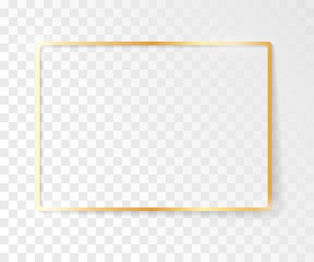 Golden frame with a shiny glow. Frame with shadows isolated on transparent background. Golden luxury realistic rectangle border.