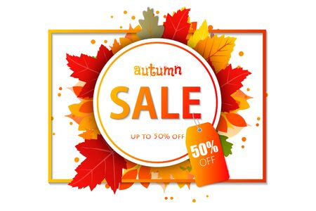 Autumn sale vector design. Templates for placards, banners, flyers, presentations, reports. Vector illustration template.