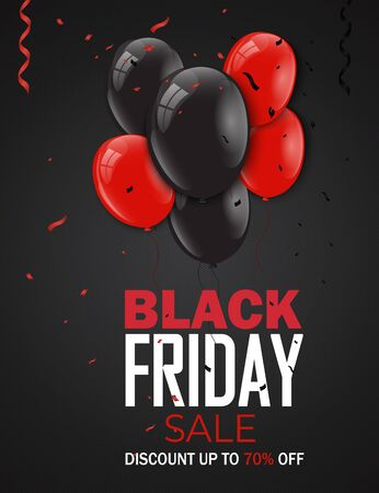 Black Friday sale inscription design template. Black Friday banner. Up to 70% off. Special offer. Vector illustration EPS10