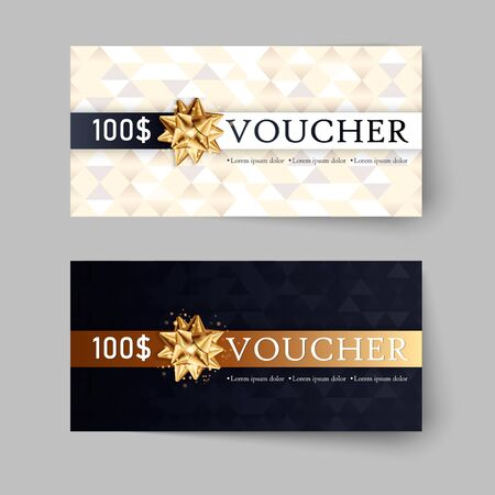 Vector set of luxury gift vouchers with ribbons and bow. Elegant template for a festive gift card, coupon and certificate. Discount Coupon Template.