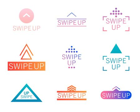 Set Swipe up. Collection buttons for social media. Arrows web icons for advertising and marketing in social media application. Vector illustration EPS 10 Çizim