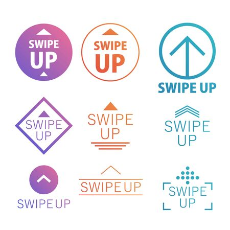 Set Swipe up. Collection buttons for social media. Arrows web icons for advertising and marketing in social media application. Vector illustration EPS 10 Фото со стока - 131938325