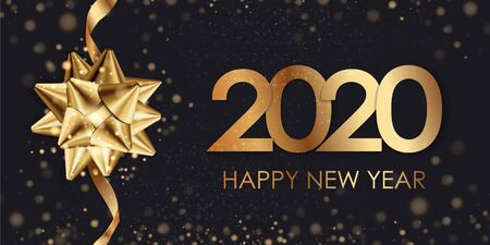 Happy New Year 2020 winter holiday greeting card design template. Party poster, banner or invitation gold glittering stars confetti glitter decoration. Vector background with golden gift bow Stock Illustratie