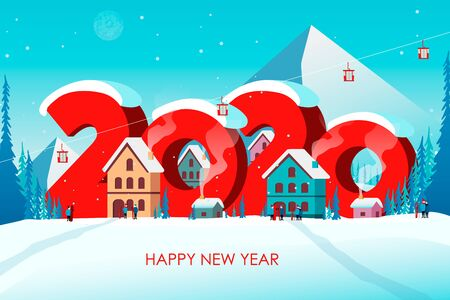 Winter travel 2020. Travel to World. Vacation. Road trip. Tourism. Journey. Travelling illustration. Happy New Year and Merry Christmas banners in flat style. Colorful. EPS 10 Stock Illustratie