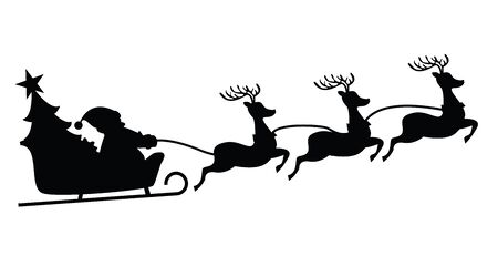 Black silhouette Santa flying in a sleigh with reindeer. Isolated object. Christmas. New Year. Vector illustration EPS10 Stock Illustratie