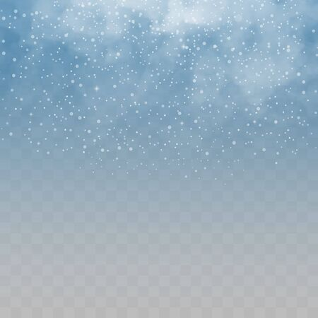 Falling snow on a transparent background. Snow clouds or shrouds. Fog, snowfall. Abstract snowflake background. Fall of snow.