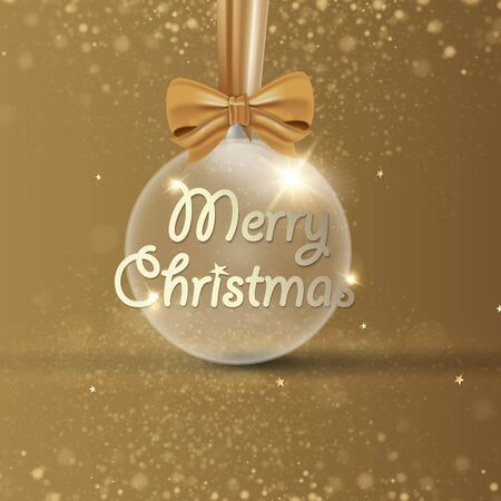 Gold Christmas ball with ribbon isolated on white background. Vector illustration. Stock Illustratie